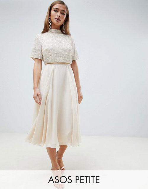 Asos Design Petite Midi Dress With High Neck Crop Top