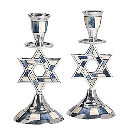 Aluminum Shabbat Star of David Candlesticks with Blue and White Decorative Inlay