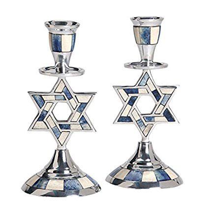 Aluminum Shabbat Star of David Candlesticks with Blue and White Decorative Inlay