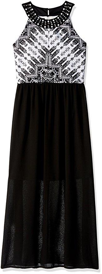 Amy Byer Big Girls Print Bodice Maxi Dress 1