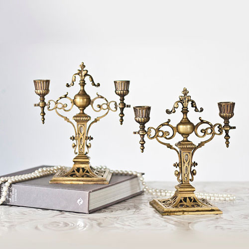 Antique Brass Shabbat Candle Holders Neo Renaissance Style French 19th Century