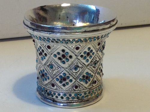 Antique Judaica Middle East (ottoman) White Metal Kiddush Cup