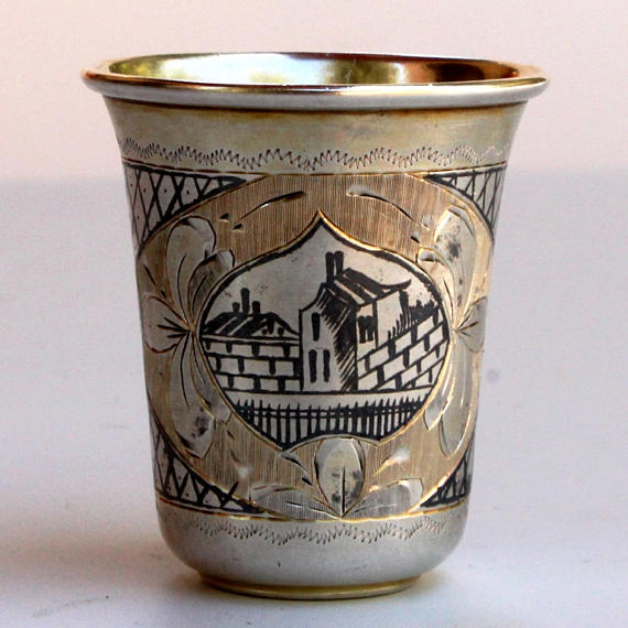 Antique Russian Silver Niello Cup