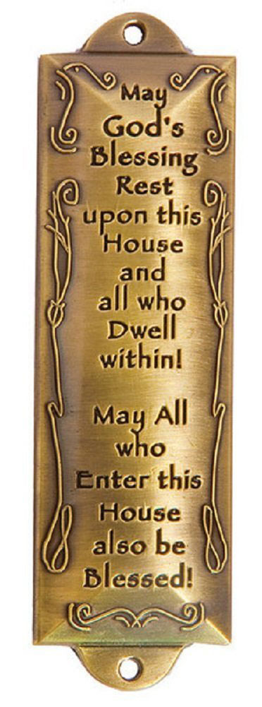Bless This House Brass Mezuzah With Hebrew Parchment