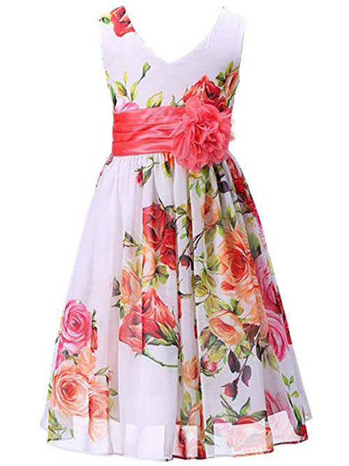 Bow Dream Flower Girl Dress V Neckline Chiffon