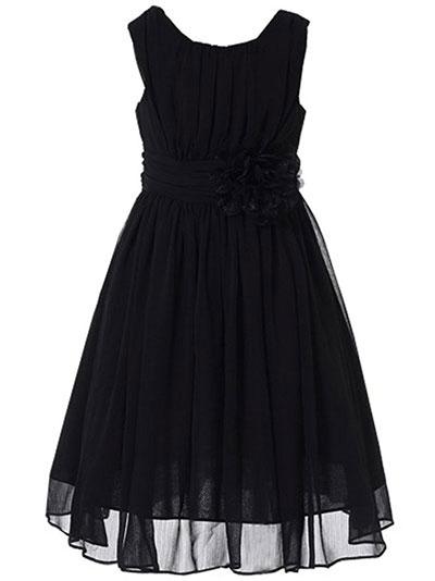 Bow Dream Girls Elegant Ruffle Chiffon Summer Dress