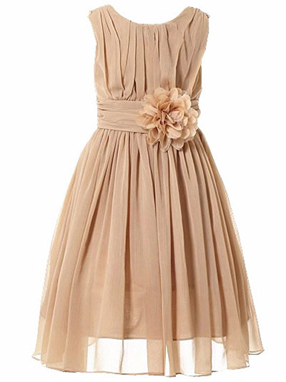 Bow Dream Girls Elegant Ruffle Chiffon Summer Dress