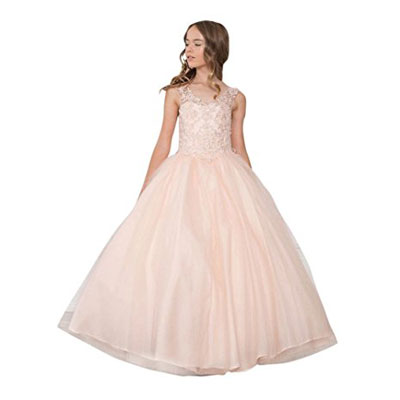 Calla Collection Big Girls Blush Glitter Overlaid Junior Bridesmaid Dress