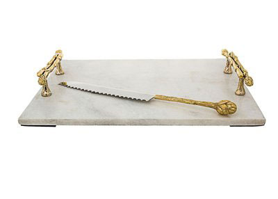 Classic Touch Marble Challah Tray with Bamboo Handles