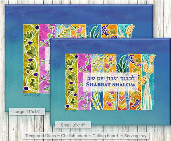 Custom SHABBAT Tempered Glass Challah Board
