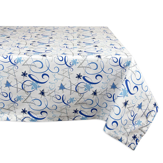 DII 100% Cotton Dinner and Holiday Star of David Tablecloth with Hanukkah Swirl