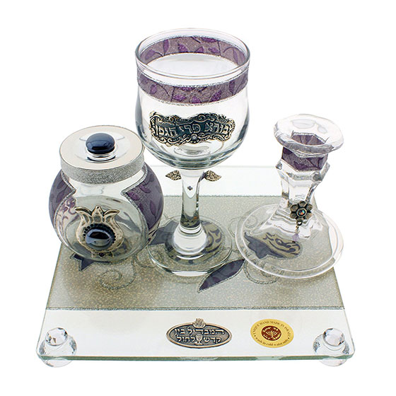 Delicate And Exquisite Design Glass Havdalah Set With Dark Purple Stripes And Flower Decor