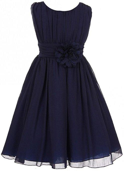 Elegant Wrinkled Chiffon Summer Flower Dress