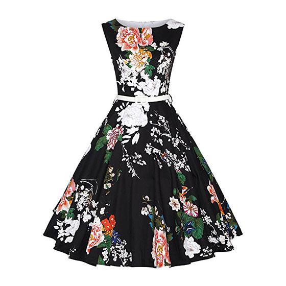 Girl's Classy Audrey 1950s Vintage Rockabilly Swing Party Dress