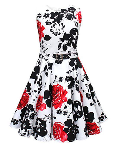 Girls Classy Audrey 1950s Vintage Rockabilly Swing Party Dress