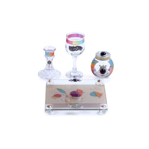 Glass Havdalah Set with Pomegranate Motif