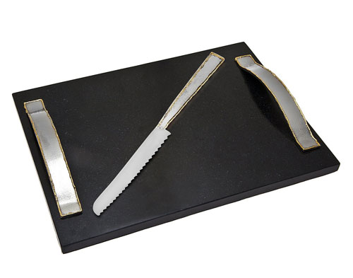 Godinger Silver Art Golden Frost Challah Board Knife Set