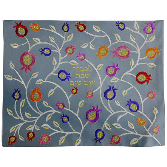 Grey Leather Challah Cover with Bright Pomegranates