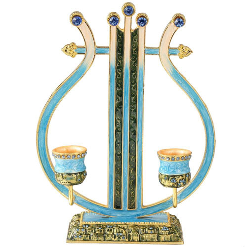 Hand Painted Gold Plated Pewter Vintage Shabbat Candlesticks Blue Harp