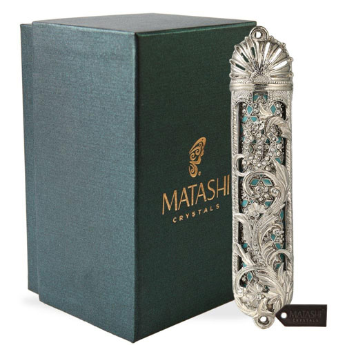 Hand Painted Mezuzah Gold Plated Crystals By Matashi