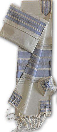 Amazing Hand Woven White with Blue Stripes & Silver Accents Silk Tallit Set