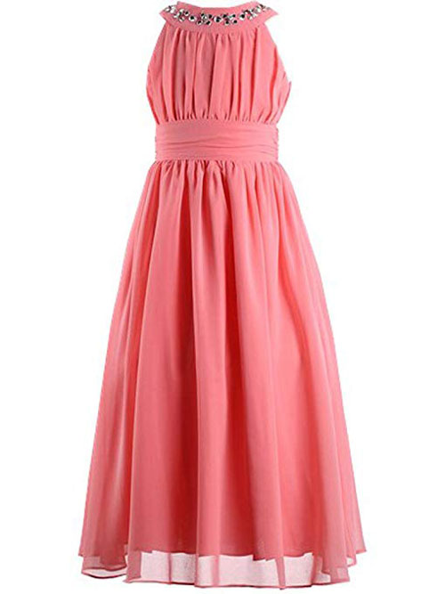 Happy Rose Chiffon Long Junior Bat Mitzvah Dress