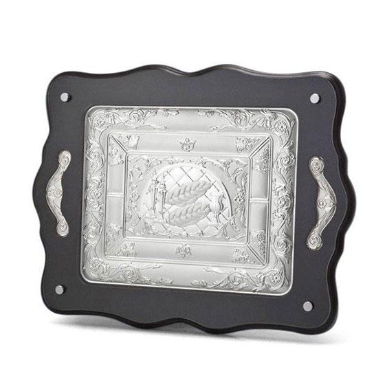 Hazorfim Challah Board - Silver Plated Wood Large (+ Handles)