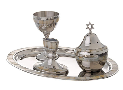 Highly Polished Non Tarnishing Metal Havdalah Set with Mother of Pearl Design