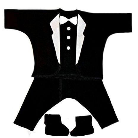 Jacqui's Baby Boys' Black + White Lapels Tuxedo Suit 4 Piece Set