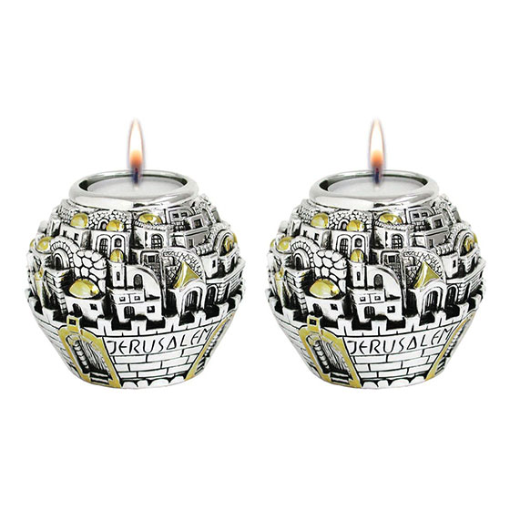 Jerusalem Ball Silver and Gold Candlesticks