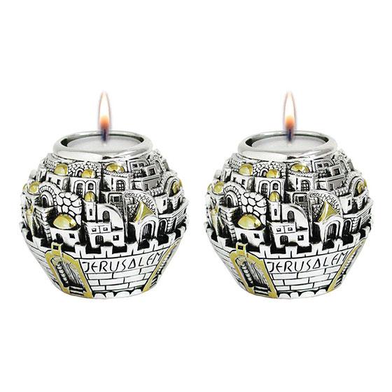 Jerusalem Ball Silver and Gold Candlesticks