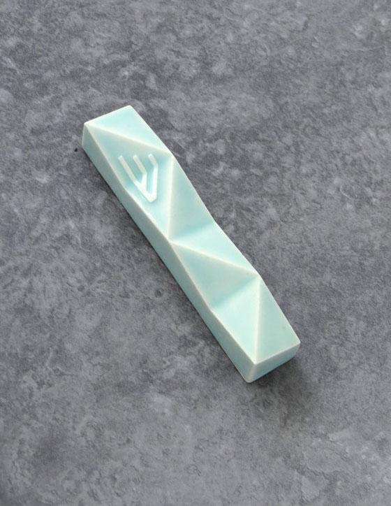 Modern Ceramic Mezuzah Case Pale Green