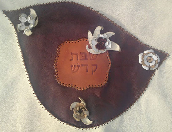 Leather Challah Cover with White Flowers