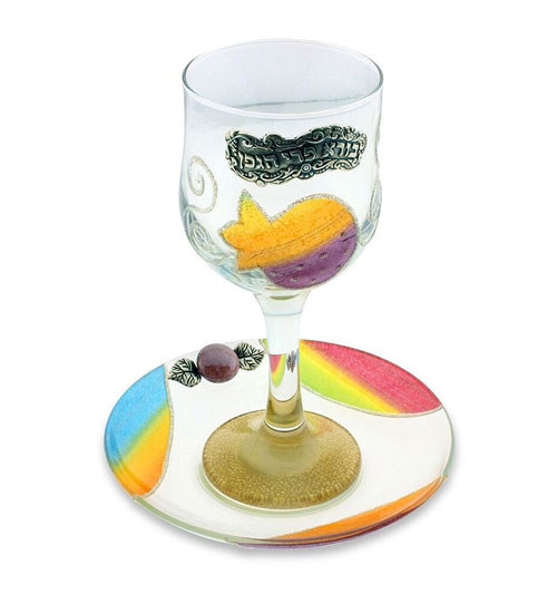 Lily Art Elegant Glass Kiddush Cup Pomegranate Design