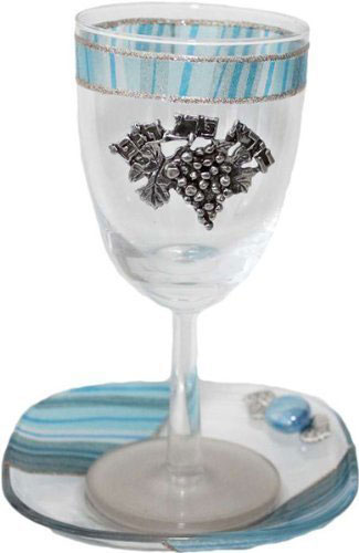 Lily Art Ocean Blue Glass Kiddush Cup