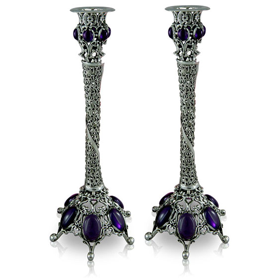 Nadav Art Antique Sterling Silver Candlesticks with Blessing and Stones