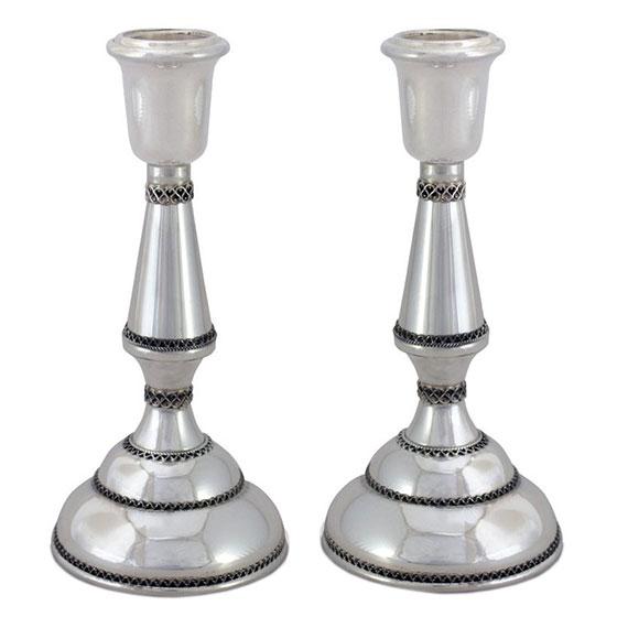 Nadav Art Sterling Silver Florentine Candlesticks