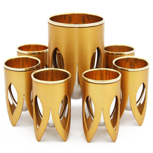 Nickel And 24k Gold Plated Interior 7 Piece Kiddush Set Lotus Caesarea Arts