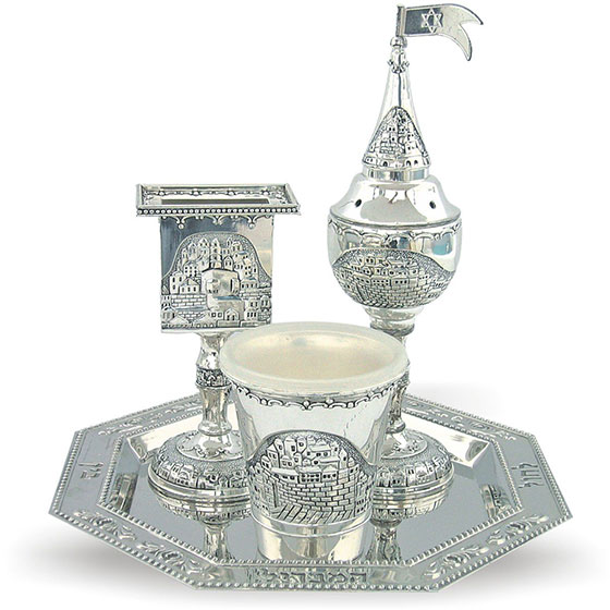 Octagon Havdala Set with Jerusalem Motif