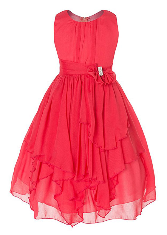 Olivia Koo Yoryu Chiffon Asymmetric Ruffled Flower Girl Dress
