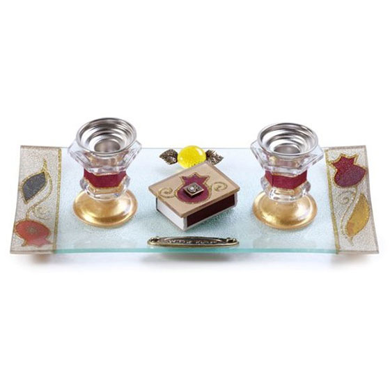 Painted Glass Candlesticks Matches and Tray Pomegranates Red Lily Art