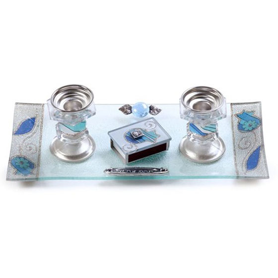 Painted Glass Candlesticks with Tray Pomegranates and Flowers Blue Lily Art