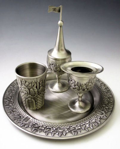 Pewter Havdalah Set Jerusalem