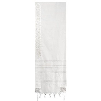 Pomegranates: Yair Emanuel Wool Tallit with Embroidery (Silver & White)