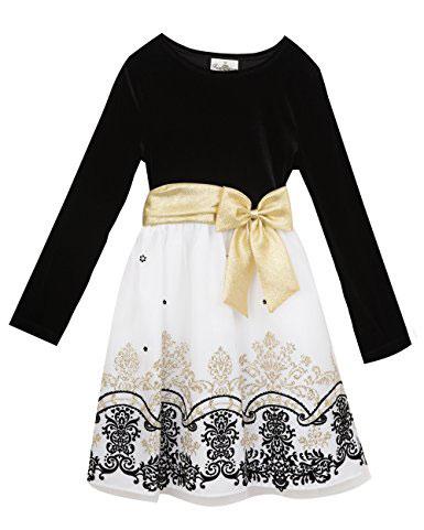 Rare Editions Big Girls Velvet Bodice To Mesh Flocked Dress