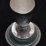 Roman Glass Large Antique Kiddush Wine Cup Sterling Silver