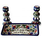 Armenian Ceramic Shabbat Candleholders – Shabbos & Holidays Set