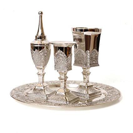 Silver Plated Filigree Design Havdalah Set