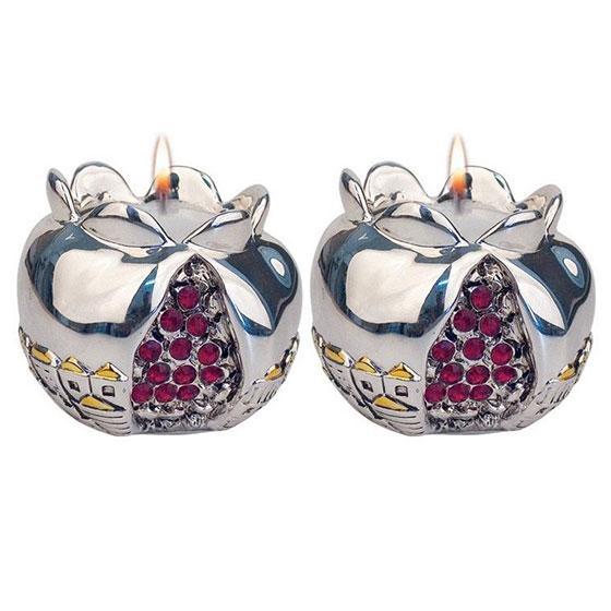 Silver Pomegranate Candlesticks with Jewels and Golden Highlights Jerusalem