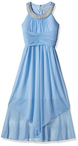 Speechless Big Girls Sheer Matte Jersey Beaded High Neck Maxi Dress